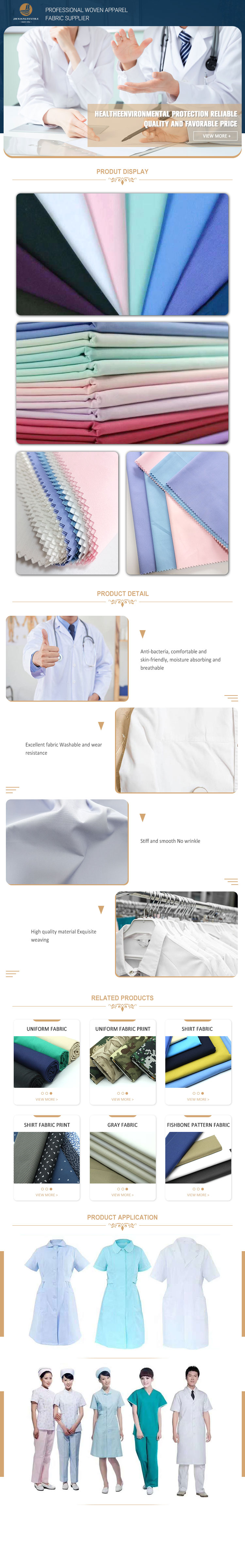 Hospital uniform fabric with different colors
